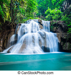 Deep forest waterfall at National Park Kanchanaburi Thailand