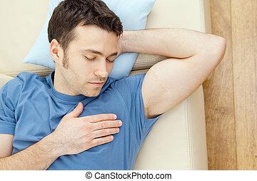 homme, dormir, divan