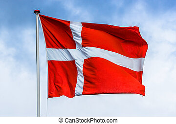 Danish flag in red and white color - High resolution photo...