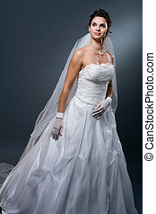 Bride in wedding dress - Studio portrait of mature bride...