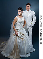 Bride and groom in wedding dress - Happy bride and groom...