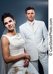sposa, matrimonio, sposo, ritratto