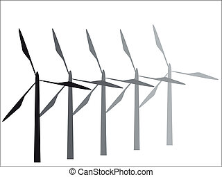 Turbines - Silhouettes of differently graded turbines