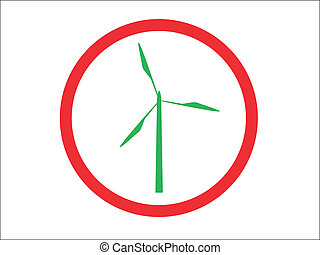 Turbine Sign - A turbine silhouette in a Road sign circle...