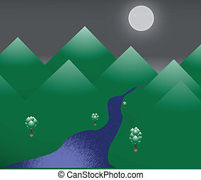 Night Scene - A mountainous scene with a full moon on a...