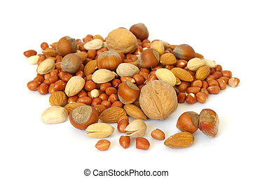 Heap of nuts on white