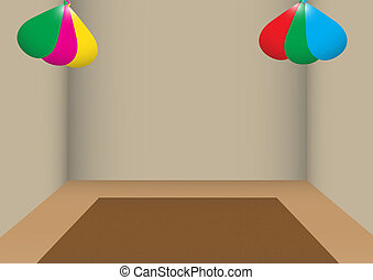 Room Ballons - A poorly lit room with balloons
