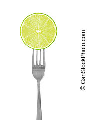 lime green on fork isolated