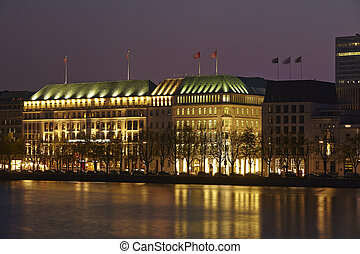 Hamburg - Inner Alster at nught - The picture shows the...