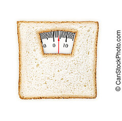 Imaginary weighing scales made of bread slice isolated on...