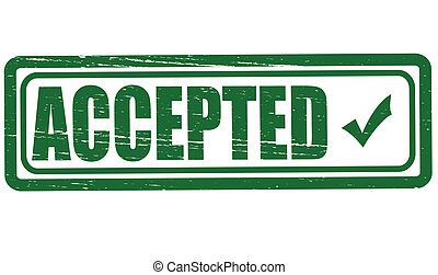 Accepted - Stamp with word accepted inside, vector...