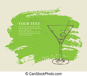 Iced cocktail on green grunge background