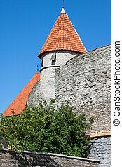 View of fortress towers and church on sky background Tallinn...