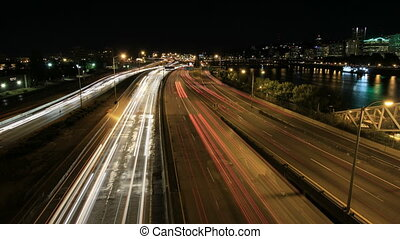 Freeway Traffic in Portland Oregon - Rush Hour Interstate...