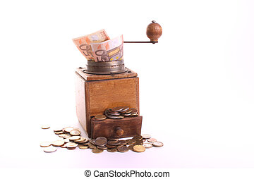 Money maker - Old coffee grinder chances Euro coins into...