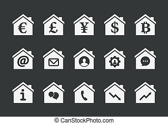 House icon set - Illustration of an isolated house icon set