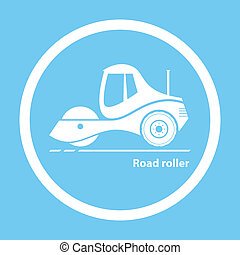 Road roller - Silhouette of road roller on blue background