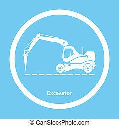 Excavator with hydraulic hammer - Silhouette of excavator...
