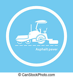 Wheel asphalt paver - Silhouette of wheel asphalt paver on...