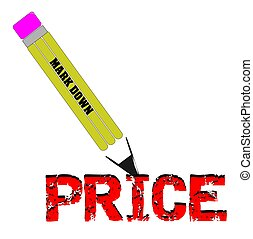 pencil price markdown - price slashing