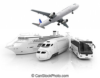travel transport. Ship, train, bus and plain on white...