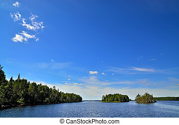 Beautiful Karelian landscape Lake Engozero, Russia -...