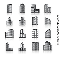 Edifice buildings icons set - Business center city edifice...