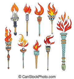 Torch icon sketch - Fire glowing flame retro sketch torch...