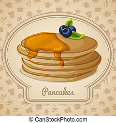 Pancakes with syrup poster - Pancakes dessert with maple...