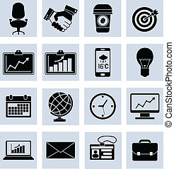Business Icons Set Black