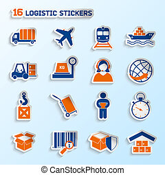 Logistic stickers set - Logistic package transportation...