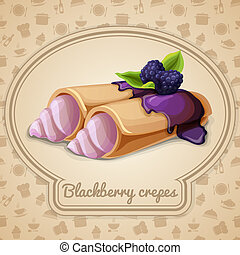 Blackberry crepes badge - Blackberry crepes dessert with...