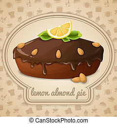 Lemon almond pie emblem - Lemon almond pie dessert with...