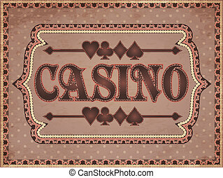Vintage casino banner, vector illustration