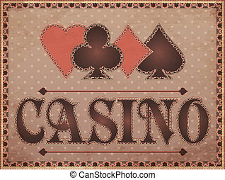 Casino vintage banner with poker