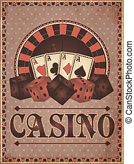 Old vintage casino invitation card, vector illustration