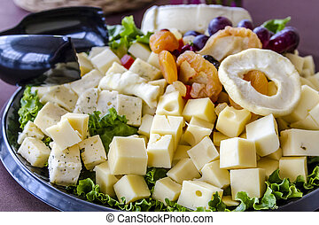 Assorted Fruit and Cheese Tray - Assorted cubes of cheese...