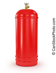 red gas balloon isolated on a white background