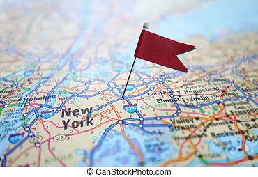 New York flag map - Closeup of a New York City map with red...