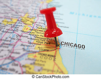 Chicago map - Closeup of Chicago map with red tack...
