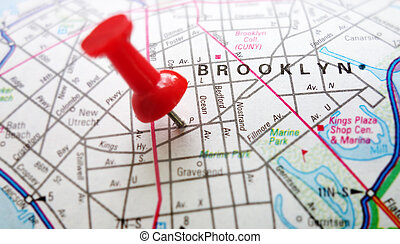 Brooklyn NY - Red tack in map of Brooklyn, New York...