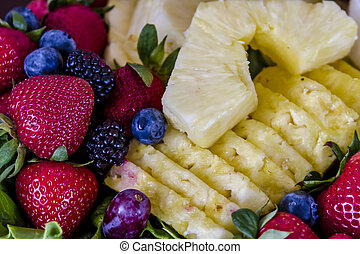 Assorted Fruit and Cheese Tray - Assorted fruit tray with...