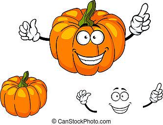 Happy colorful orange cartoon pumpkin
