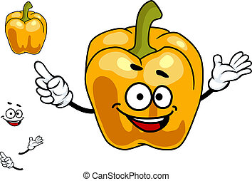 Smiling orange sweet bell pepper vegetable - Smiling cartoon...