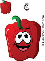 Colorful happy red sweet bell pepper vegetable with a toothy...