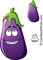 Colorful purple cartoon eggplant vegetable or brinjal with a...