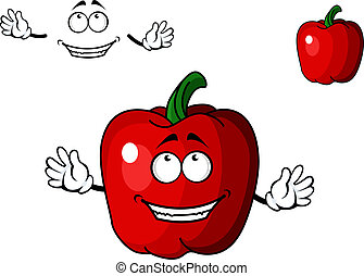 Happy red cartoon sweet bell pepper vegetable with a beaming...