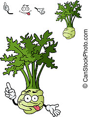 Funny cartoon celery vegetable with root isolated on white...