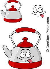 Cartoon kettle with a happy smile - Cartoon kettle with a...