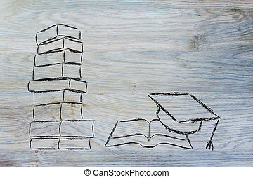 pile of books with one open and graduation cap - books and...